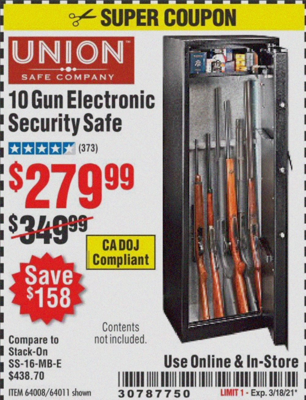 Harbor Freight Coupon, HF Coupons - 10 Gun Electronic Security Safe