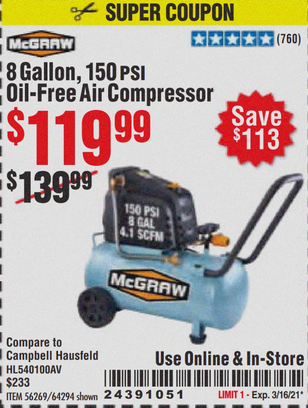Harbor Freight Coupon, HF Coupons - Mcgraw 150 Psi, 8 Gallon, 1.5 Hp Horizontal Compressor