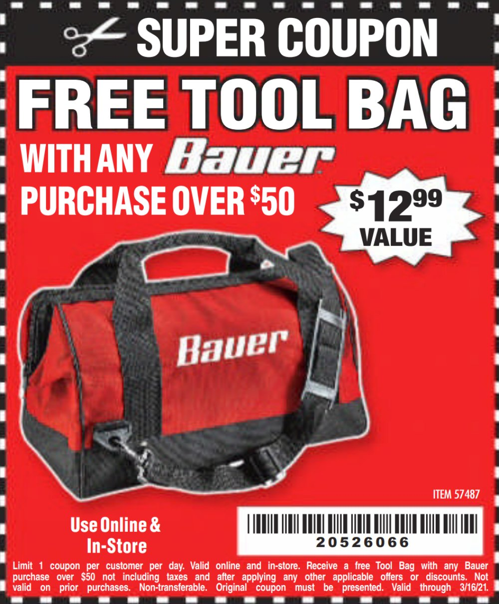 Harbor Freight Coupon, HF Coupons - FREE - 16 In. Tool Bag With 6 Pockets