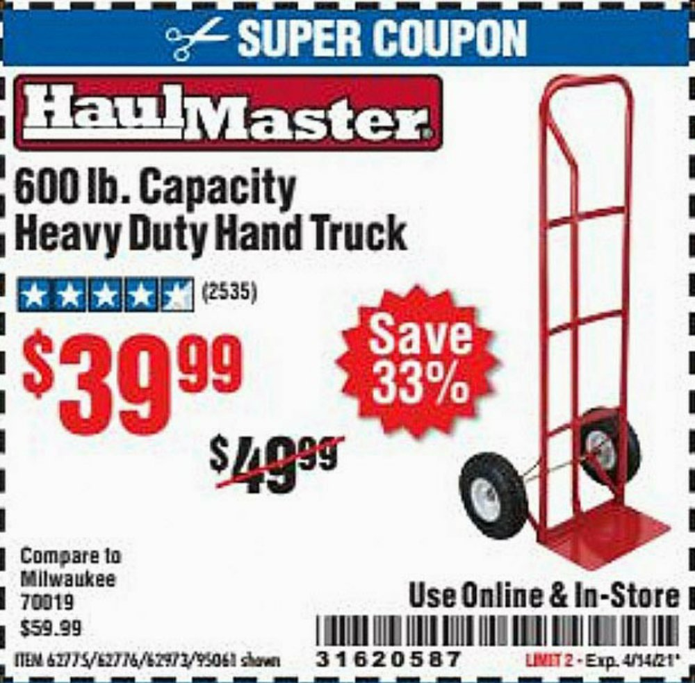 Harbor Freight Coupon, HF Coupons - Heavy Duty Hand Truck