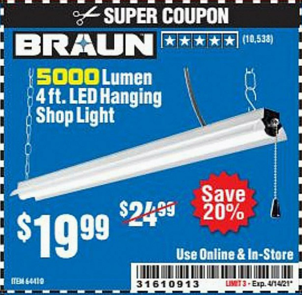 Harbor Freight Coupon, HF Coupons - 5000 Lumen Led Hanging Shop Light