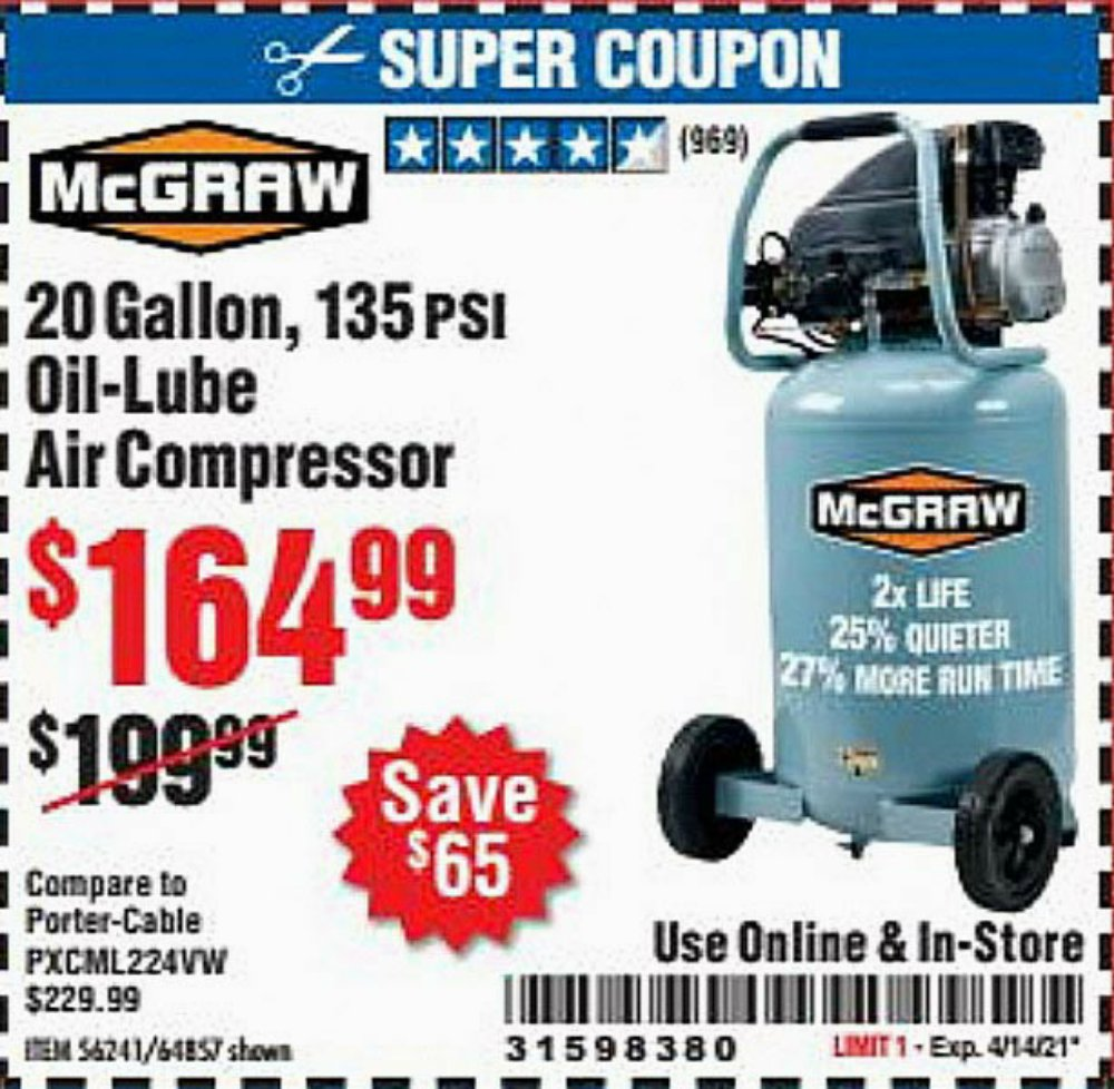 Harbor Freight Coupon, HF Coupons - Mcgraw 20 Gallon, 135 Psi Oil-lube Air Compressor