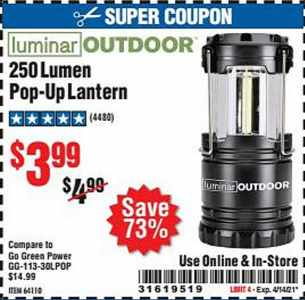 Harbor Freight Coupon, HF Coupons - 250 Lumens Pop-up Lantern
