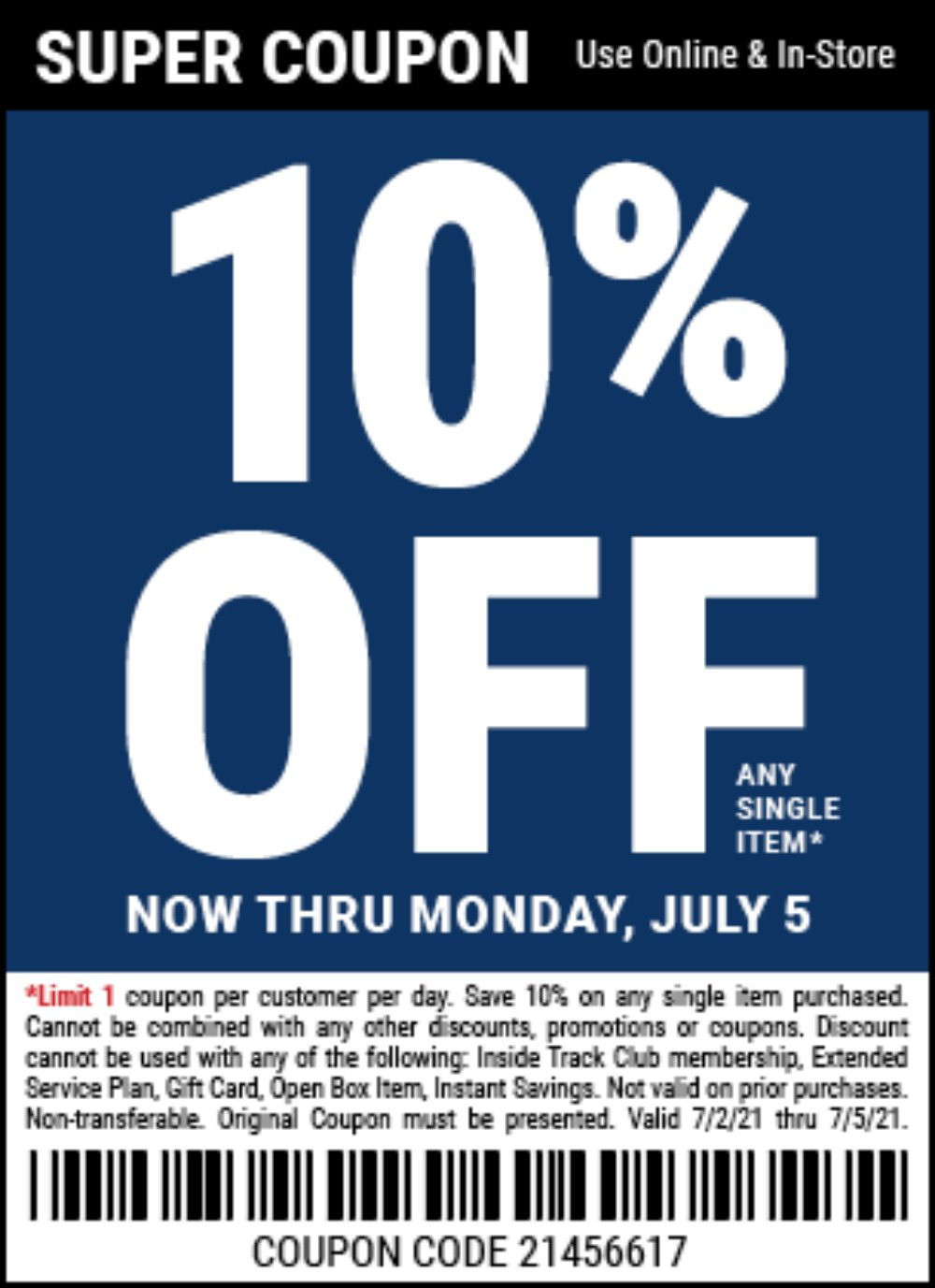 Harbor Freight Coupon, HF Coupons - 10% off no exclusions