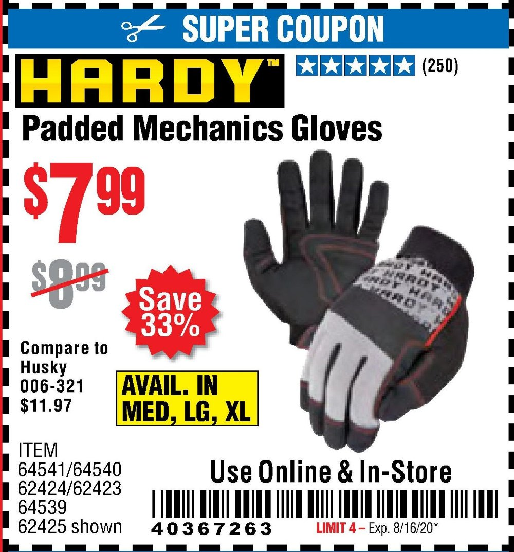 Harbor Freight Coupon, HF Coupons - Hardy Padded Mechanic's Gloves