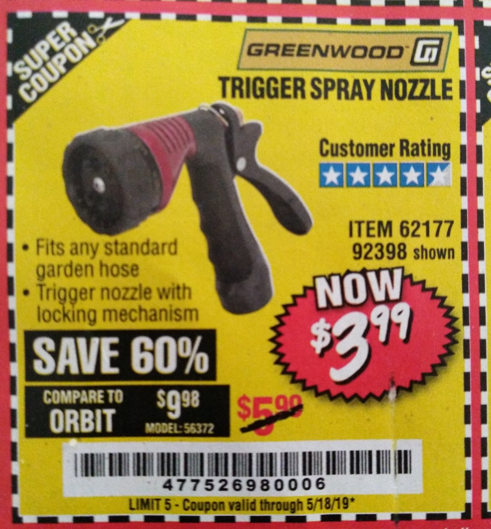 Harbor Freight Coupon, HF Coupons - Trigger Spray Nozzle