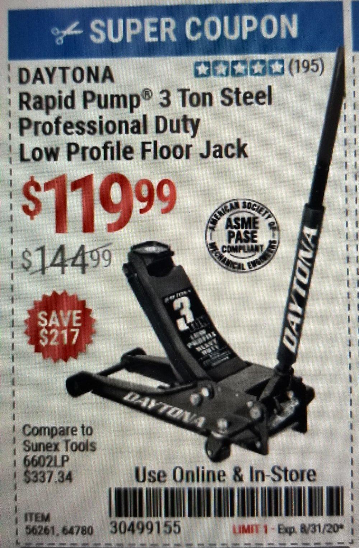 Harbor Freight Coupon, HF Coupons - Daytona Rapid Pump 3 Ton Steel Low Profile Floor Jacks
