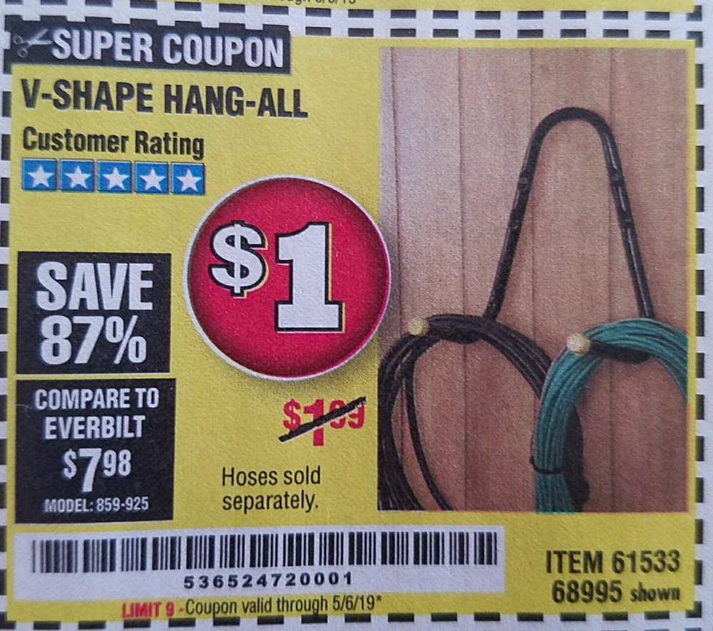 Harbor Freight Coupon, HF Coupons - V-shape Hang-all