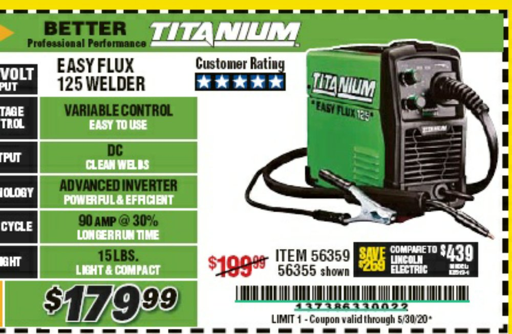 Harbor Freight Coupon, HF Coupons - Easy Flux 125 Amp Welder