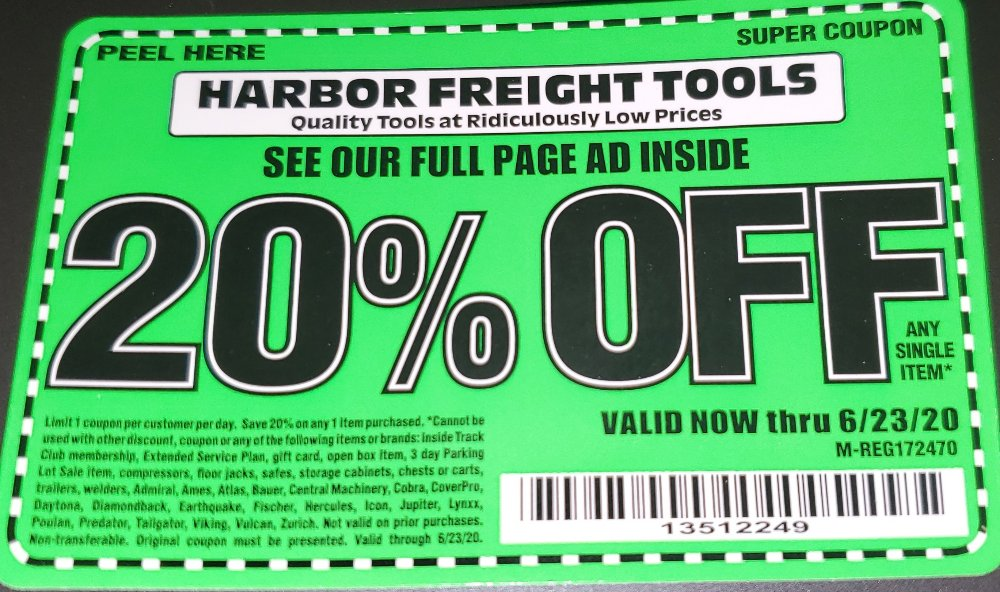 Harbor Freight Coupon, HF Coupons - 20% OFF (Exp. 06/23/2020)