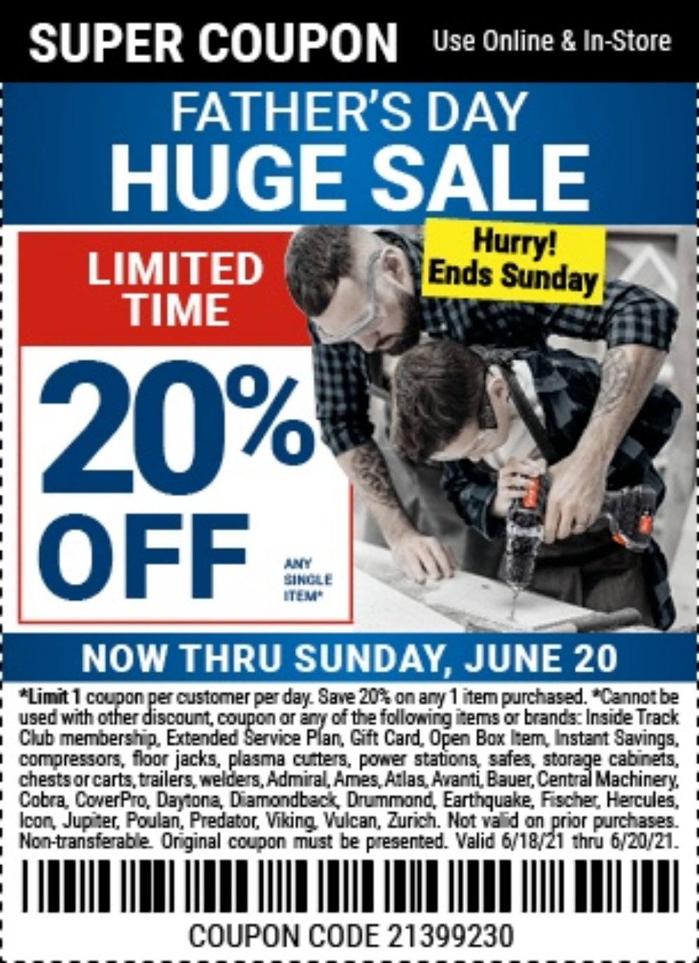 Harbor Freight Coupon, HF Coupons - 20% off single item