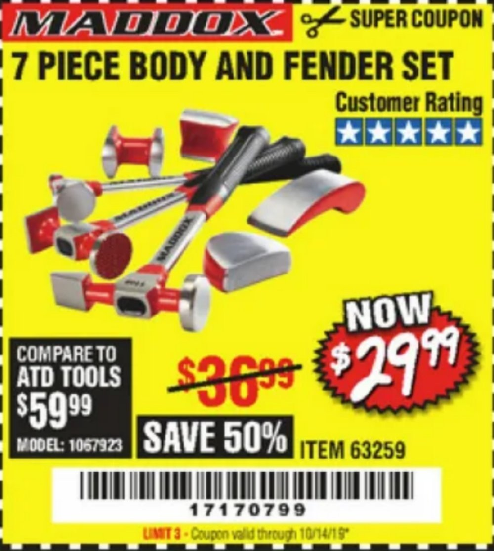 Harbor Freight Coupon, HF Coupons - 7 Piece Body And Fender Set