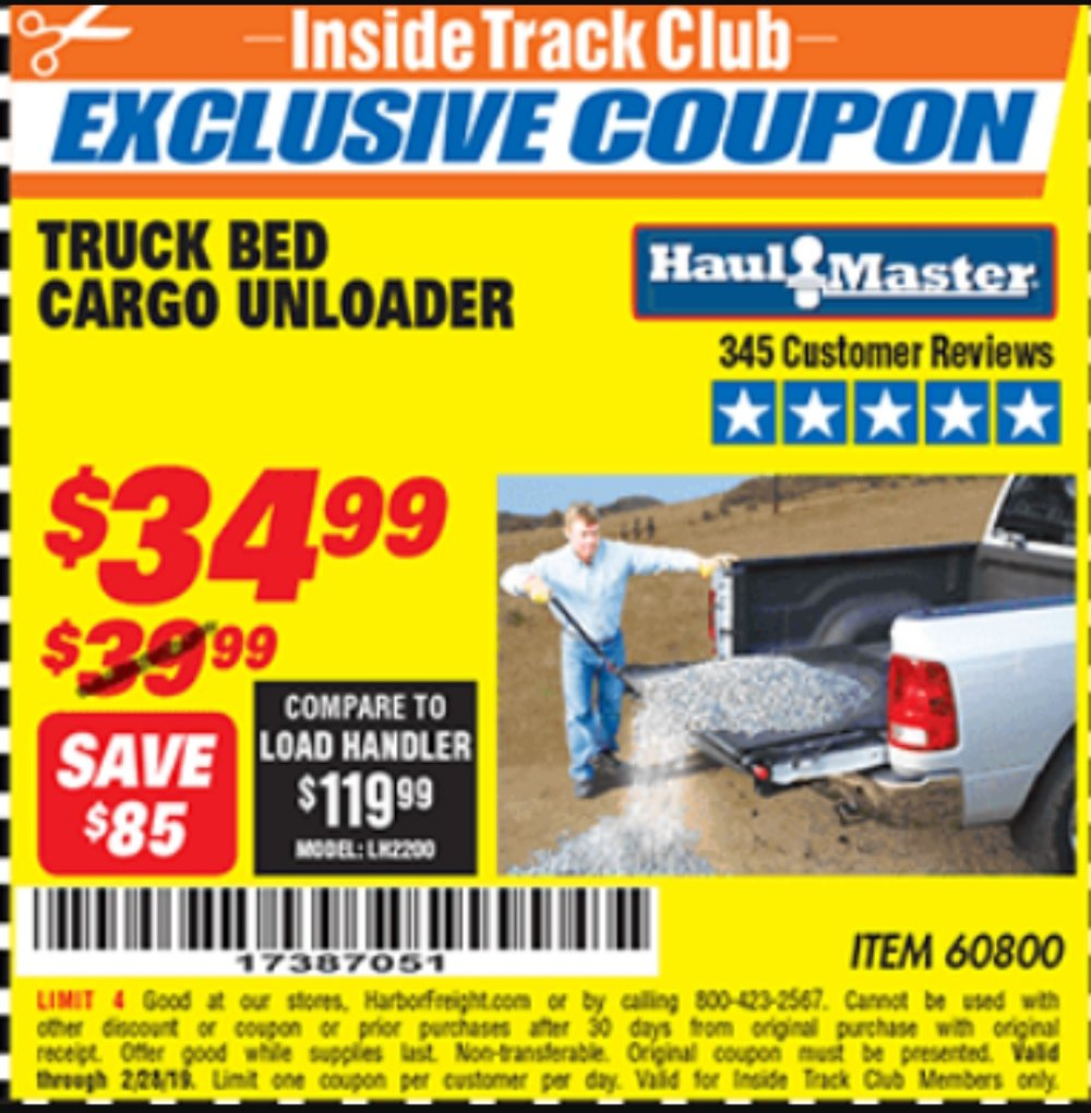 Harbor Freight Coupon, HF Coupons - Truck Bed Cargo Unloader