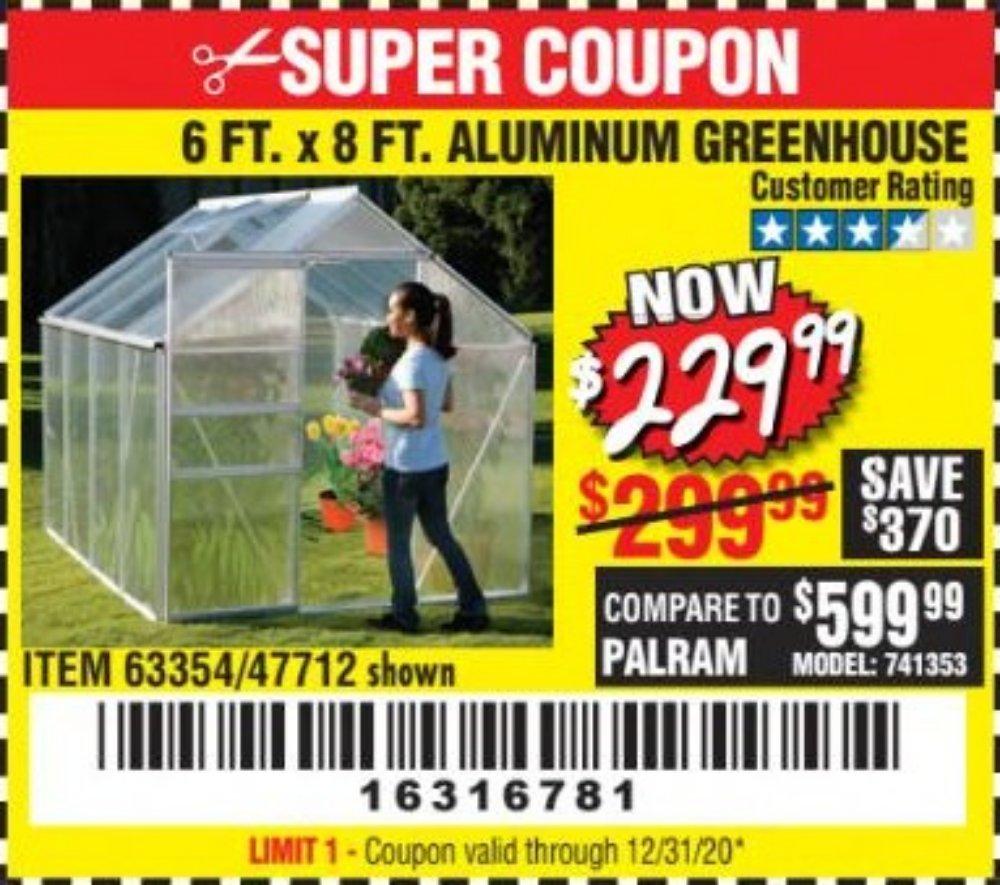 Harbor Freight Coupon, HF Coupons - 6ft. X 8ft. Aluminum Greenhouse