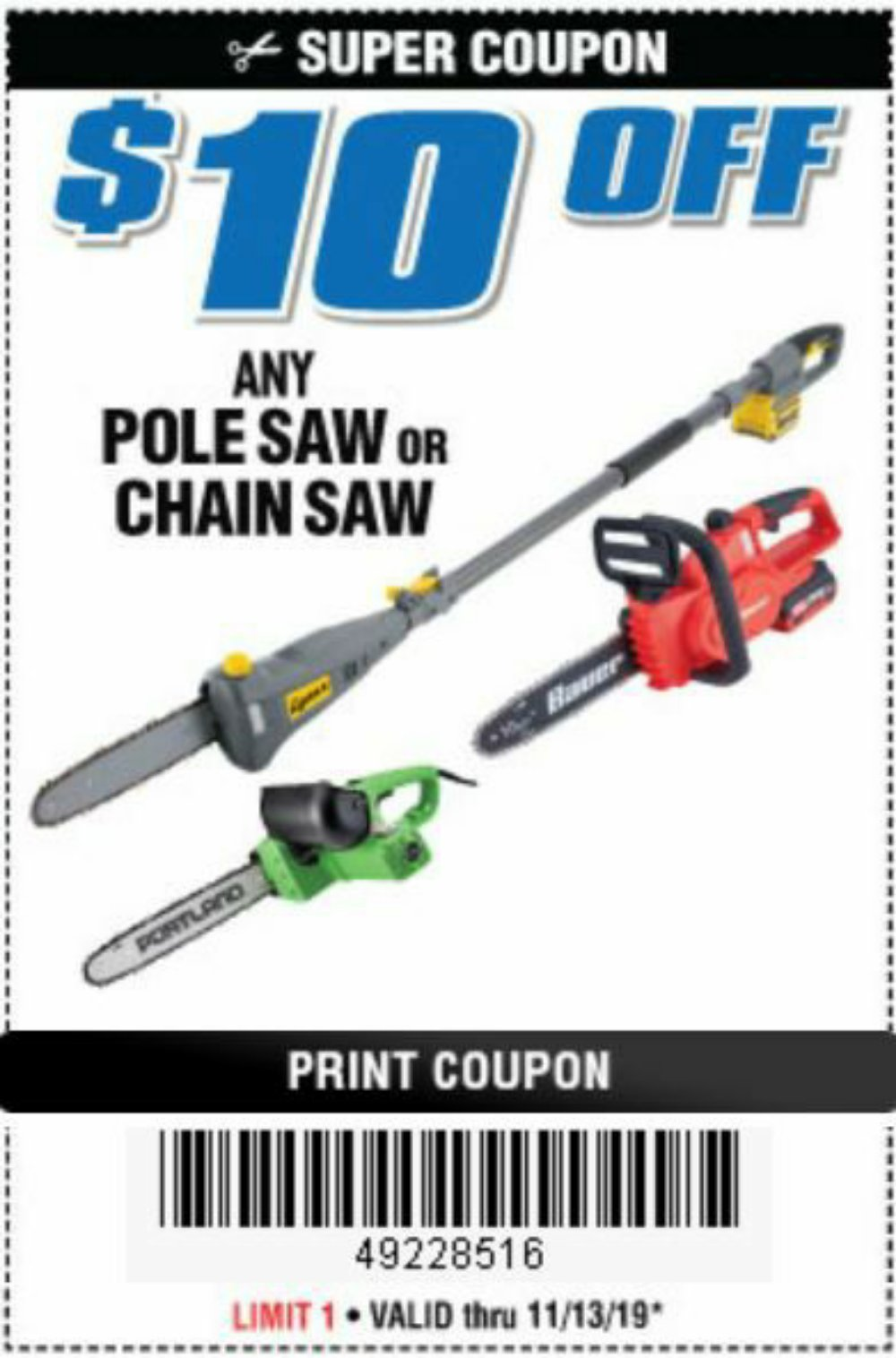 Harbor Freight Coupon, HF Coupons - $10 off pole saw or chainsaw