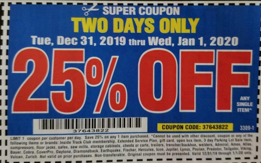 Harbor Freight Coupon, HF Coupons - 25% off 31dec-jan01 super coupon