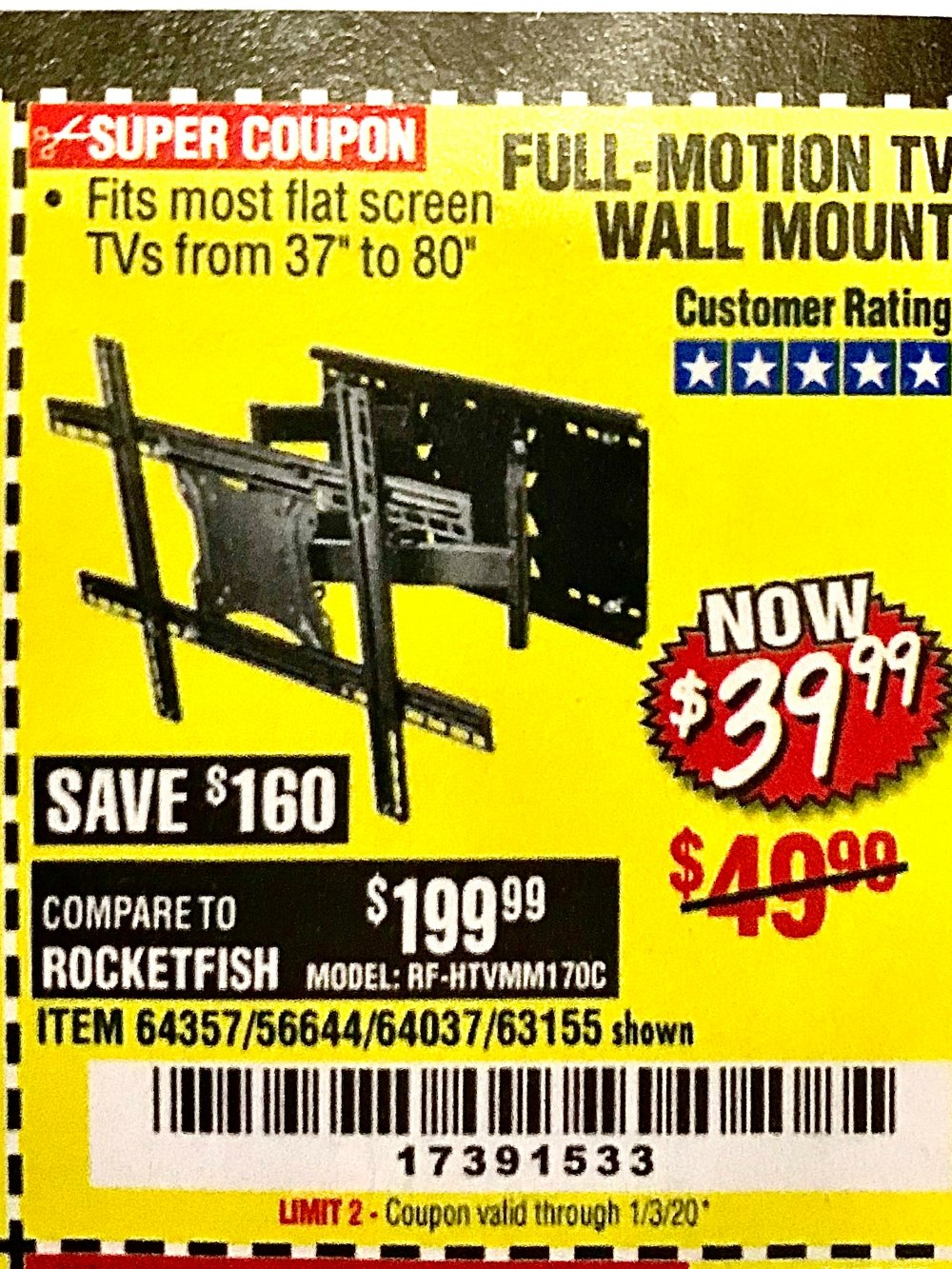 Harbor Freight Coupon, HF Coupons - 37-80 in FULL-MOTION TV WALL MOUNT