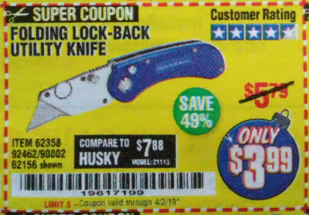 Harbor Freight Coupon, HF Coupons - Folding Locking Back Utility Knife