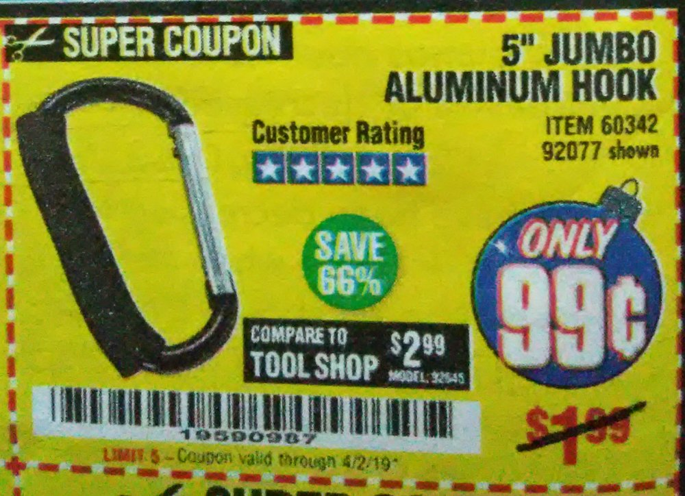 Harbor Freight Coupon, HF Coupons - 99 cents Carabiner