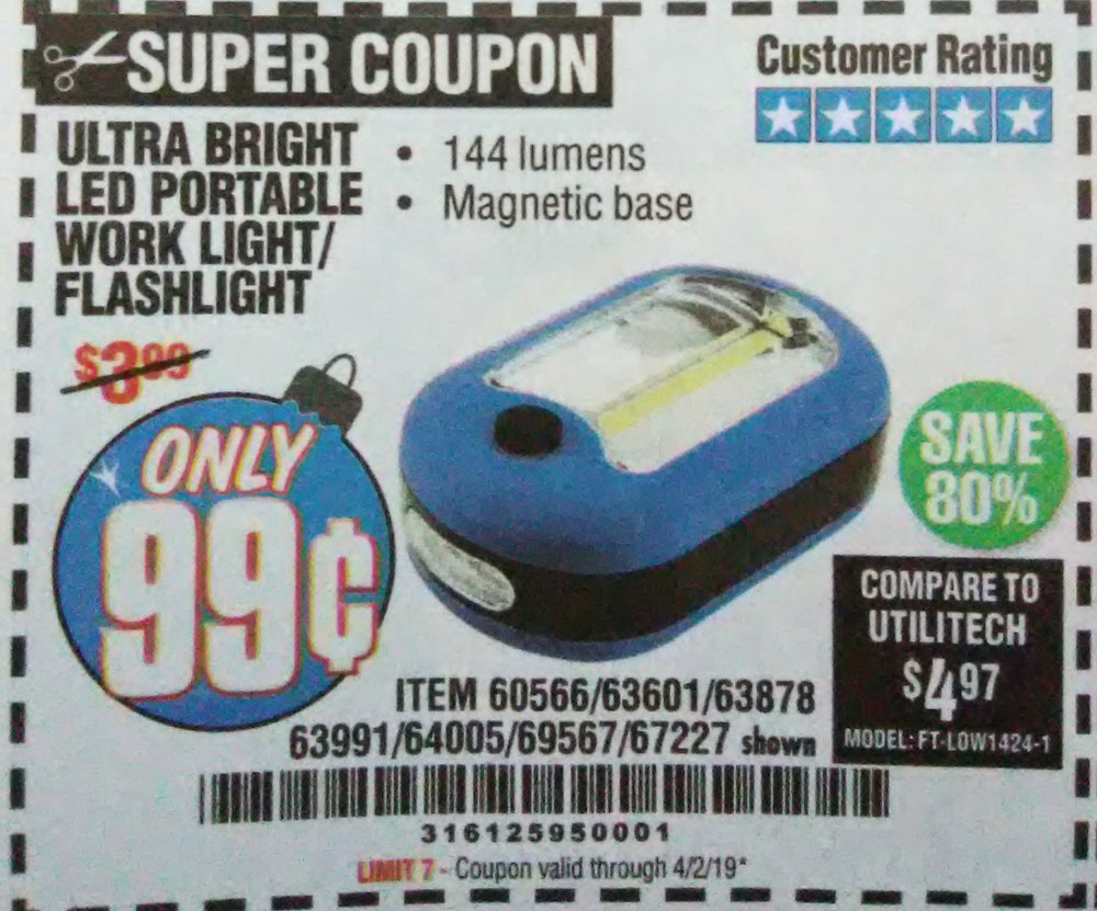 Harbor Freight Coupon, HF Coupons - 99 cents Worklight