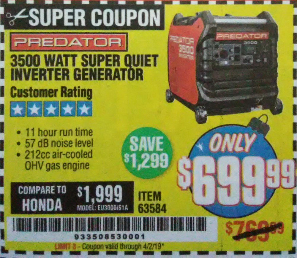Harbor Freight Coupon, HF Coupons - 3500 Watt Super Quiet Inverter Generator