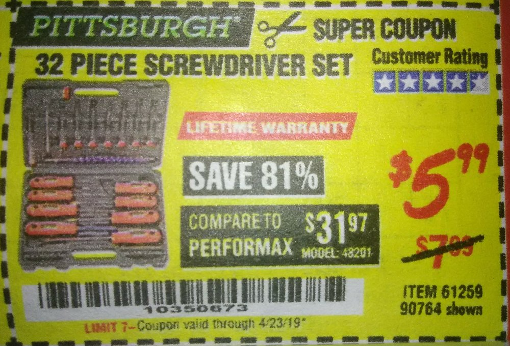 Harbor Freight Coupon, HF Coupons - 32 Piece Screwdriver Set