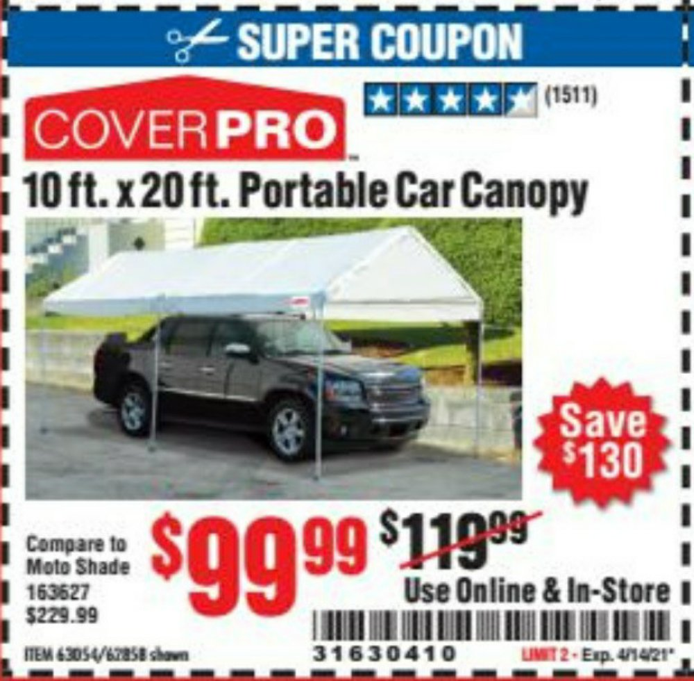 Harbor Freight Coupon, HF Coupons - 10 Ft X 20 Ft Car Canopy