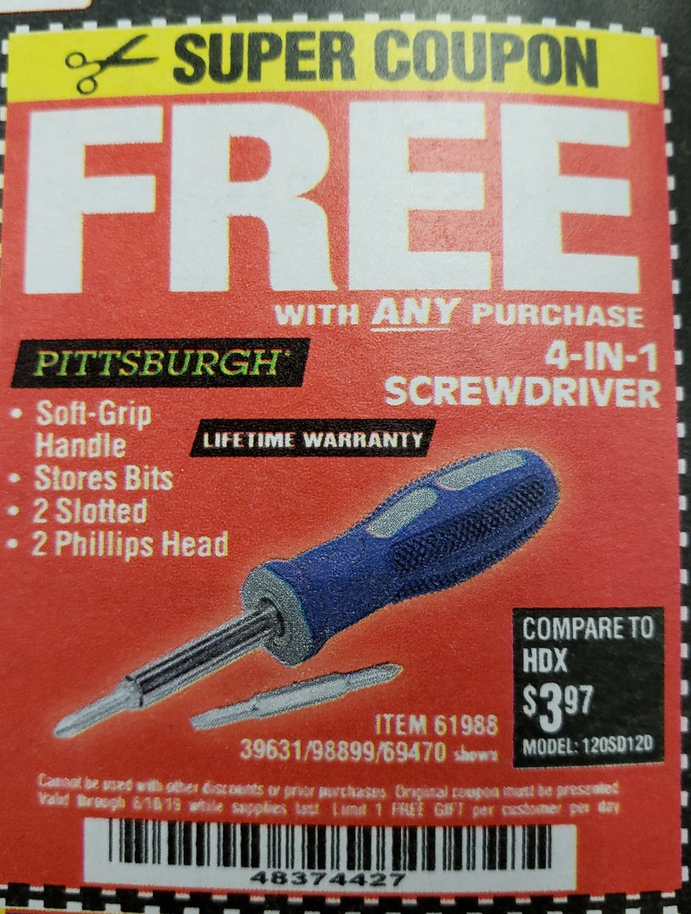 Harbor Freight Coupon, HF Coupons - FREE - 4-in-1 Screwdriver