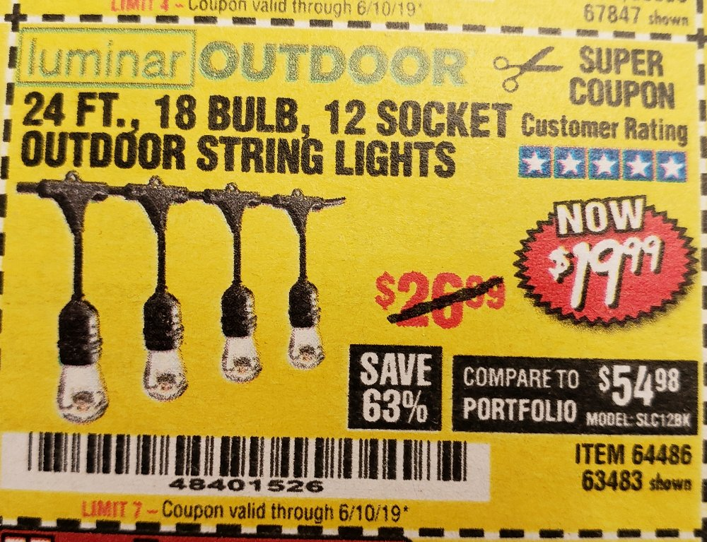 Harbor Freight Coupon, HF Coupons - 24 Ft., 18 Bulb, 12 Socket Outdoor String Lights