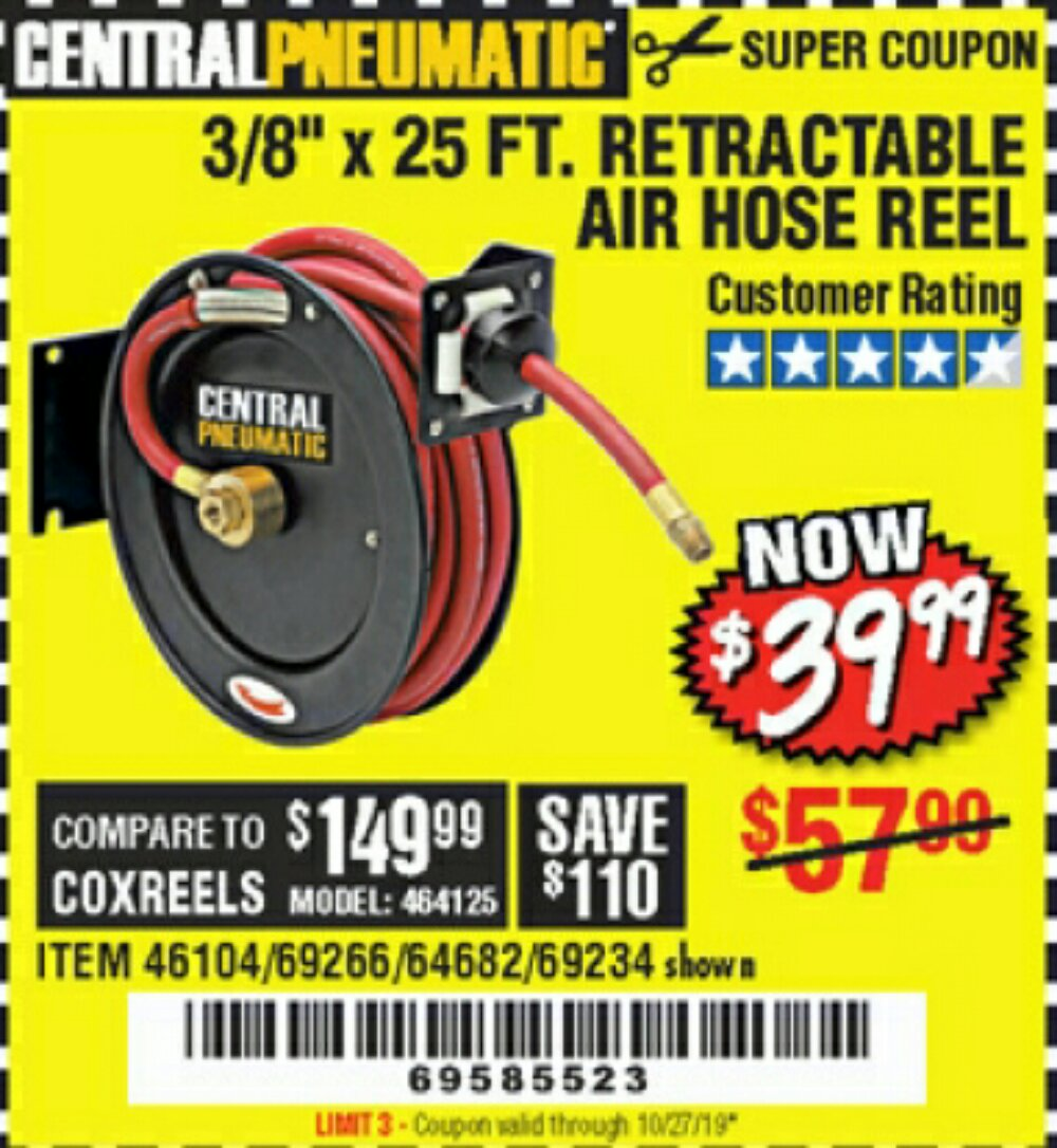Harbor Freight Coupon, HF Coupons - Heavy Duty Retractable Air Hose Reel With 3/8