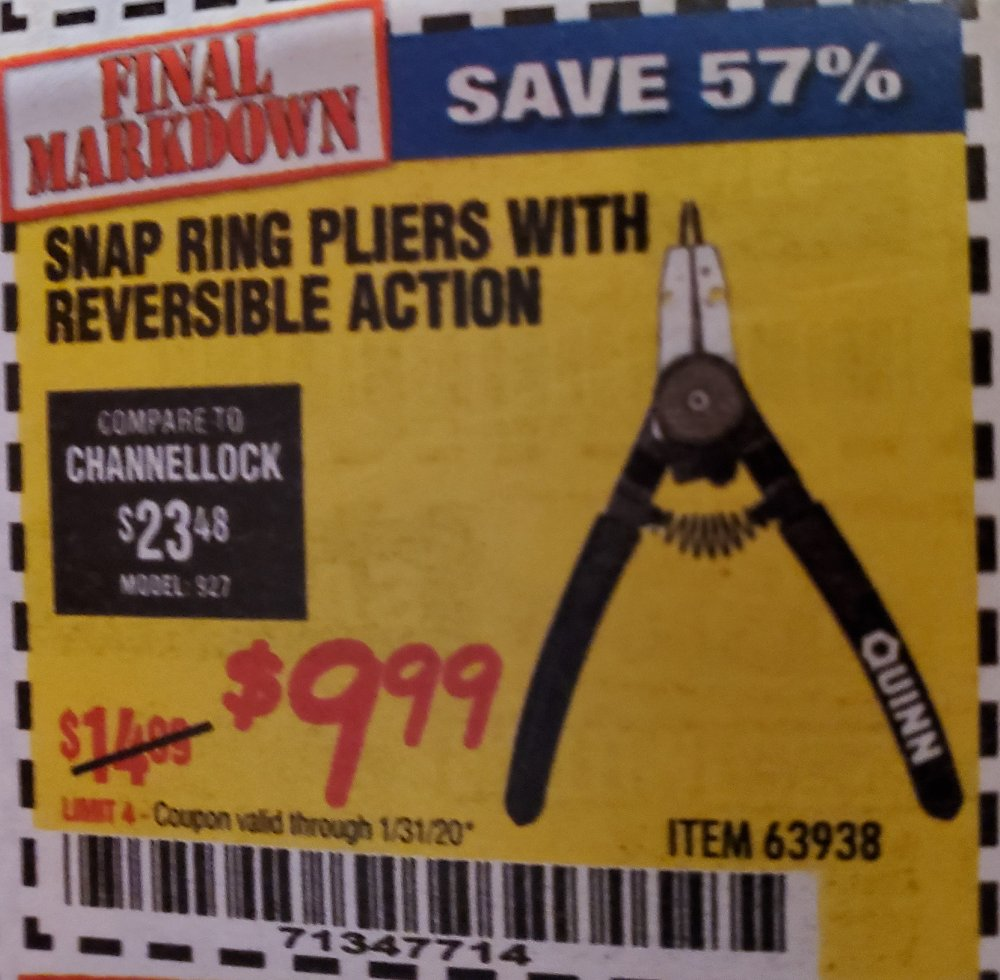 Harbor Freight Coupon, HF Coupons - Snap Ring Pliers With Reversible Action