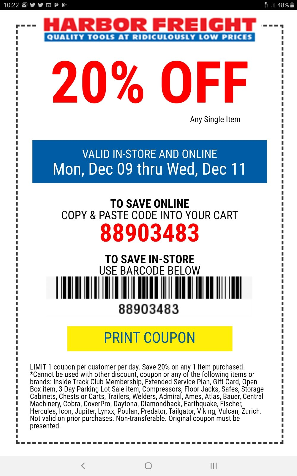 Harbor Freight Coupon, HF Coupons - 20% off = 88903483