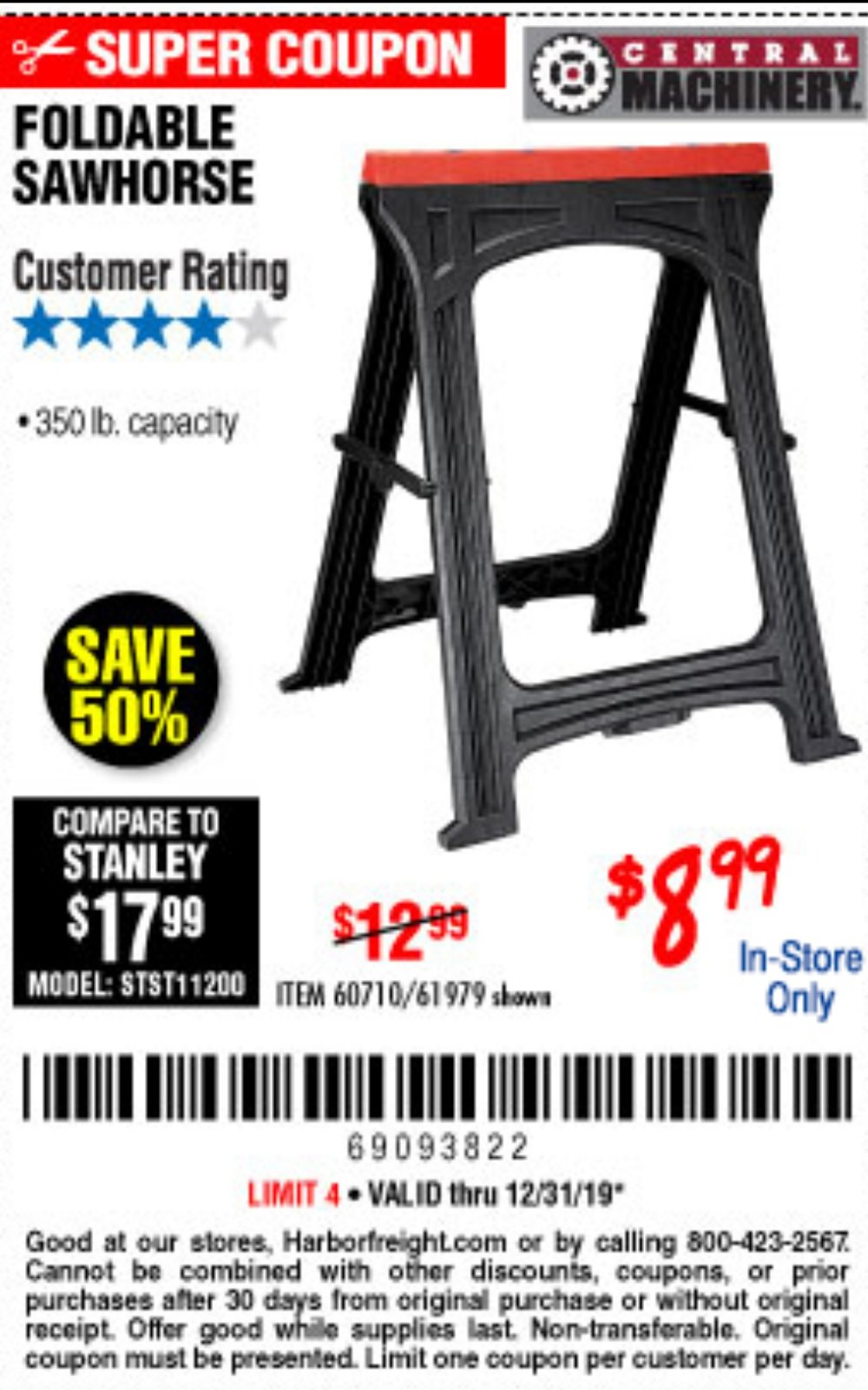 Harbor Freight Coupon, HF Coupons - Foldable Sawhorse