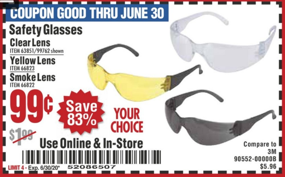 Harbor Freight Coupon, HF Coupons - Safety Glasses (clear/yellow/smoke)