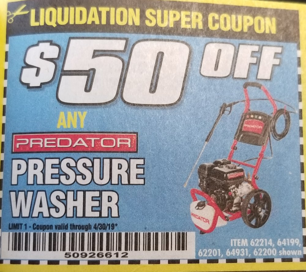 Harbor Freight Coupon, HF Coupons - $50 off Pressure Washer
