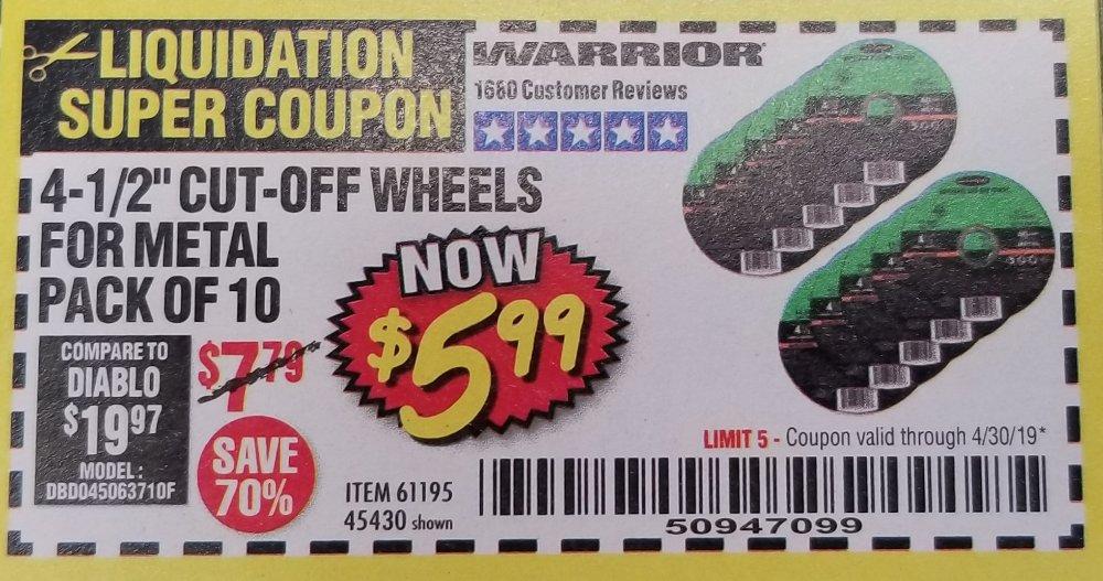Harbor Freight Coupon, HF Coupons - Warrior 4-1/2