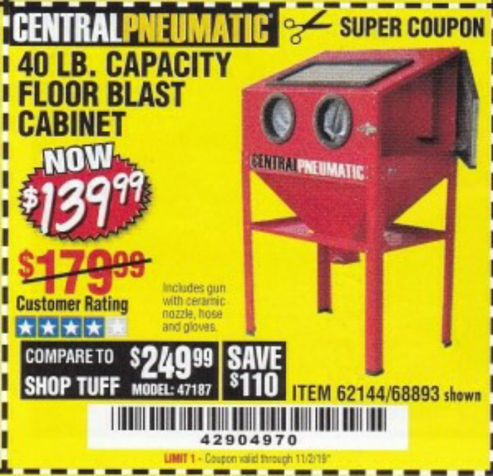 Harbor Freight Coupon, HF Coupons - 40 Lb. Capacity Floor Blast Cabinet