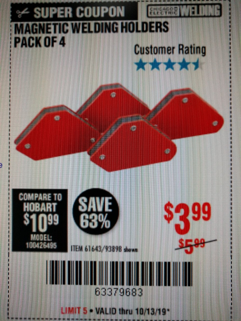 Harbor Freight Coupon, HF Coupons - 4 Piece Magnetic Welding Holders