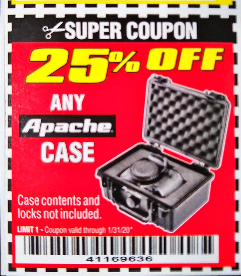 Harbor Freight Coupon, HF Coupons - 25% off any Apache case