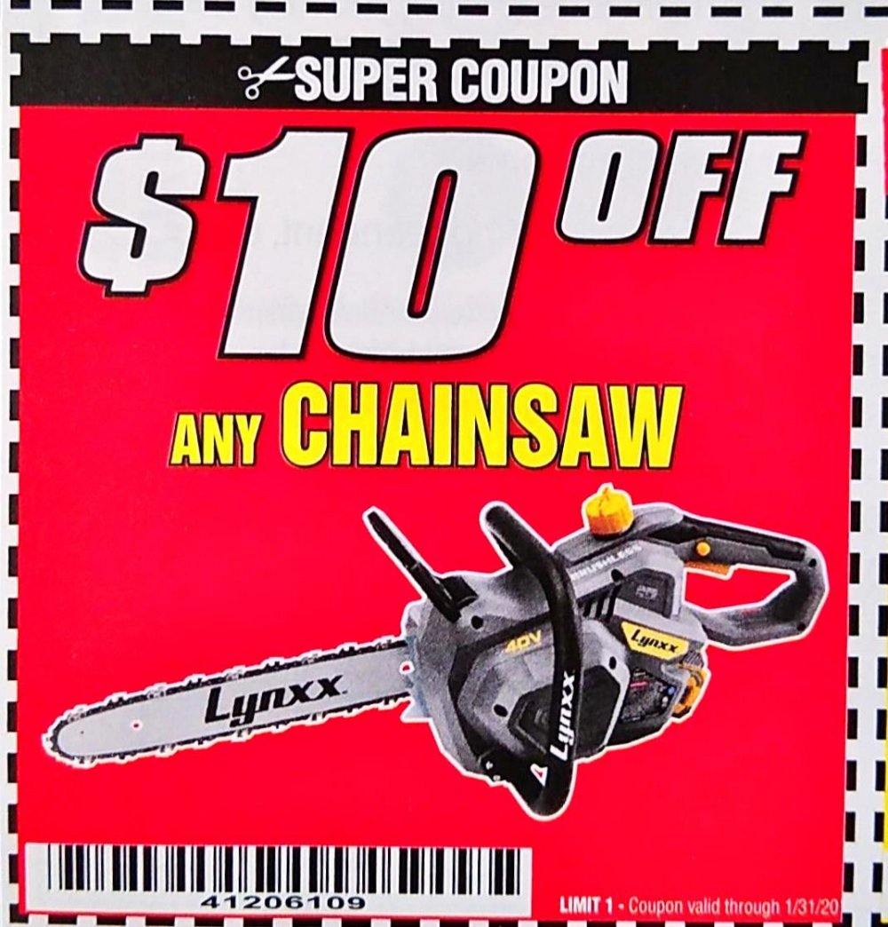 Harbor Freight Coupon, HF Coupons - $10 off any chainsaw