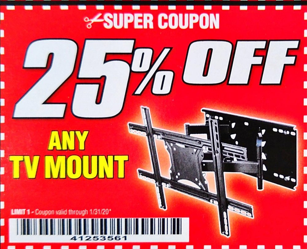 Harbor Freight Coupon, HF Coupons - 25% off any TV mount