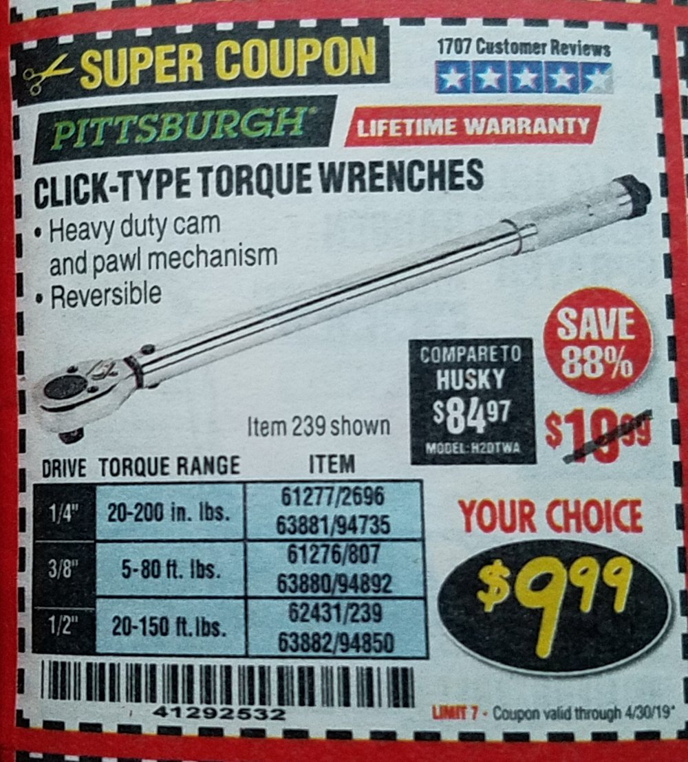 Harbor Freight Coupon, HF Coupons - Torque Wrenches