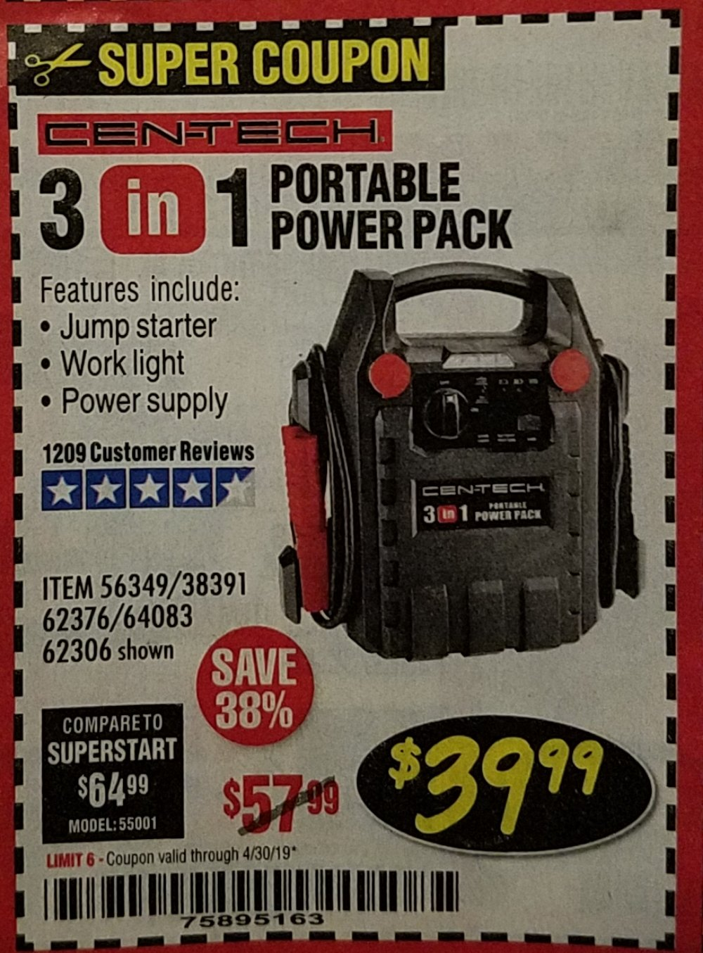 Harbor Freight Coupon, HF Coupons - 3 In 1 Portable Power Pack