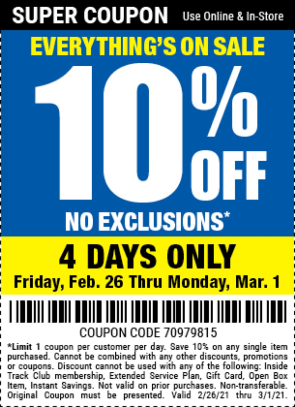 Harbor Freight Coupon, HF Coupons - 10% off