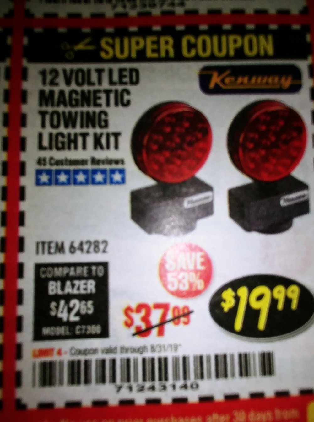 Harbor Freight Coupon, HF Coupons - 12 Volt Led Magnetic Towing Light Kit