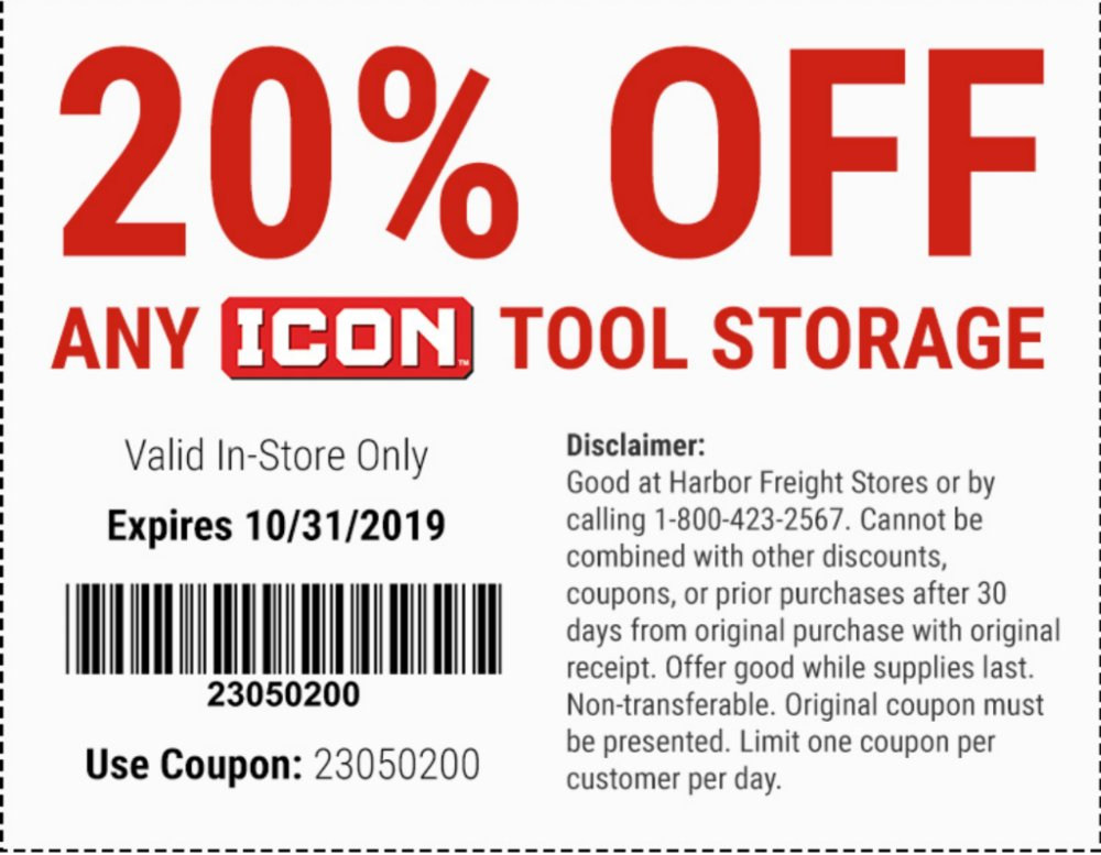 Harbor Freight Coupon, HF Coupons - 20% off Icon Tool Storage