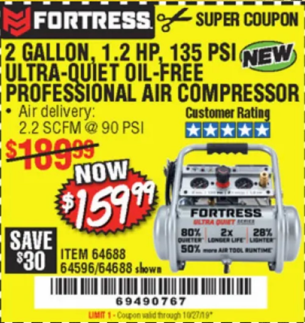 Harbor Freight Coupon, HF Coupons - Fortress 2 Gallon, 1.2 Hp, 135 Psi Ultra-quiet, Oil-free Professional Air Compressor