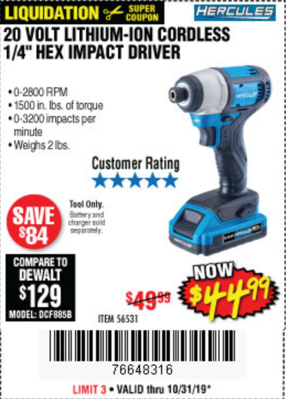 Harbor Freight Coupon, HF Coupons - Hercules 20 Volt Lithium-ion Cordless 1/4
