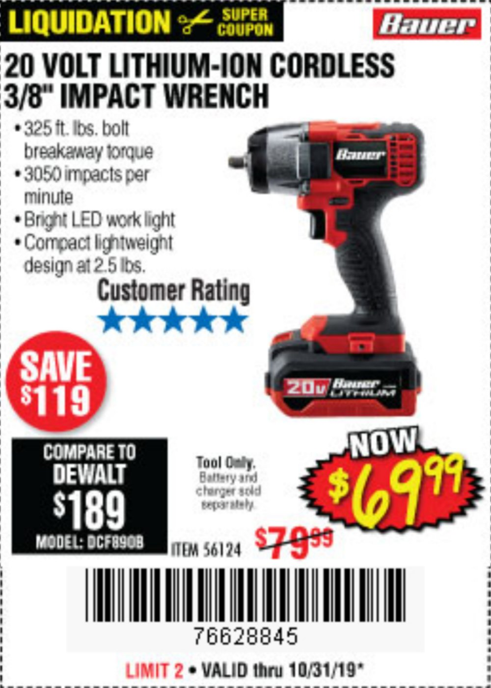 Harbor Freight Coupon, HF Coupons - Bauer 20 Volt Lithium Cordless, 3/8