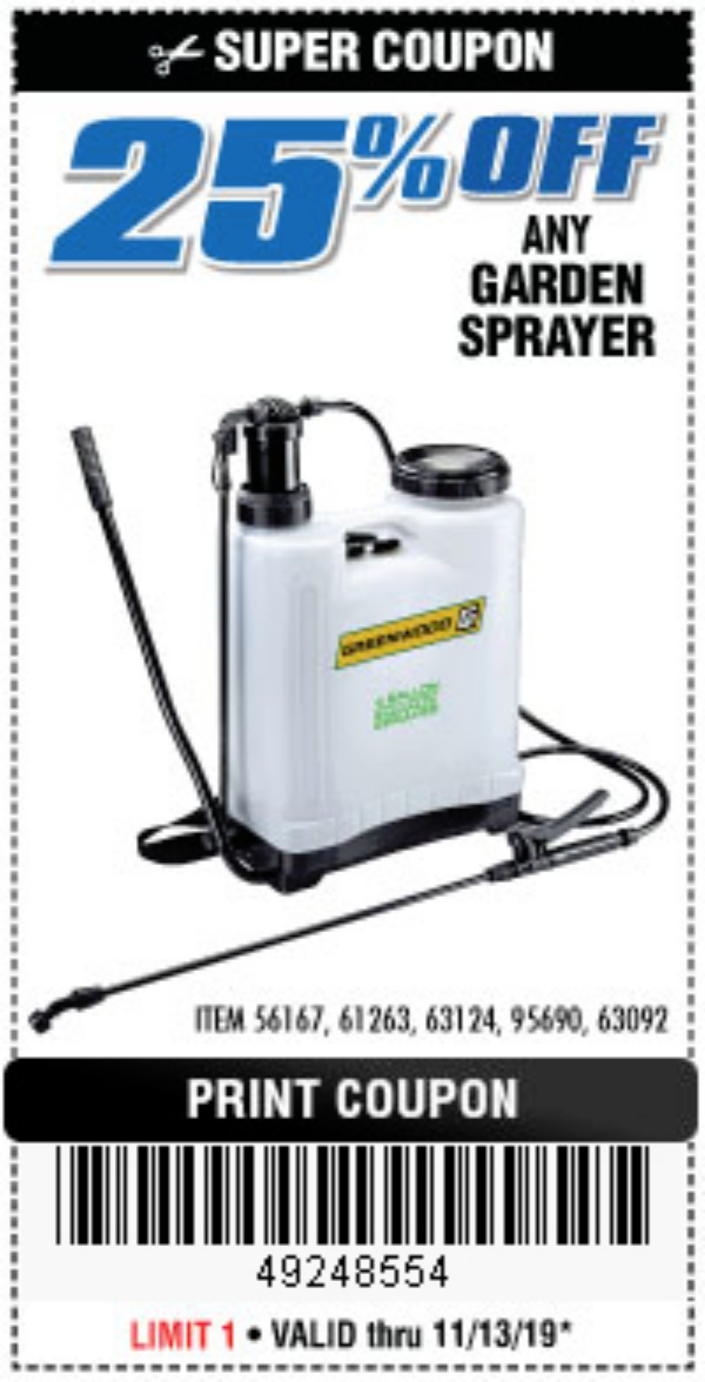 Harbor Freight Coupon, HF Coupons - 25% off any garden sprayer